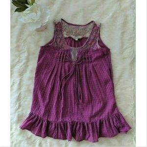 🍁 Lulumari Sleeveless Shirt  Boho Purple Womens S